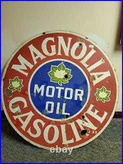Original Magnolia Gasoline Motor oil Porcelain Sign lot 5