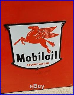 Original Mobil Oil Bottle Rack Porcelain Shield Sign Mobilgas Mobiloil Display