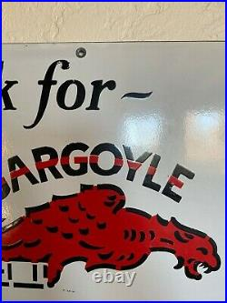 Original MobilOil Gargoyle Authorized Service Porcelain Enamel Sign