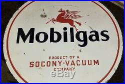 Original Mobilgas Socony Double Sided Porcelain Sign gas oil Mobil Vacuum 30