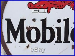 Original Mobiloil Gargoyle Double-sided Porcelain Sign Lollipop Stand