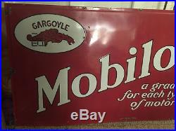 Original Mobiloils Gargoyle Vacuum Porcelain Mobil Sign 7'x4' Mobil Oil Gas