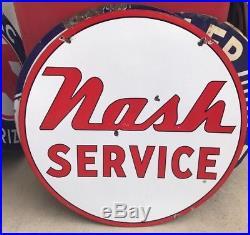 Original Nash Service Porcelain Dealership Sign 42