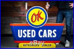 Original OK Chevrolet Used Cars Porcelain Dealership Sign 1950's A++ WOW NOS