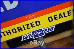 Original OK Chevrolet Used Cars Porcelain Dealership Sign 1950's NOS The Best