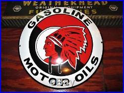 Original Old INDIAN GASOLINE & OIL CONVEX PORCELAIN METAL GAS & OIL SIGN
