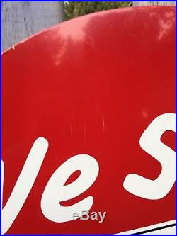 Original Oval Wolf's Head Motor Oil Sign Not Porcelain