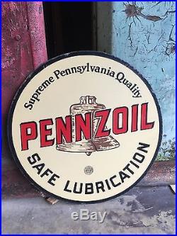 Original Pennzoil Porcelain Gas Oil Penn Pennsylvania Sign