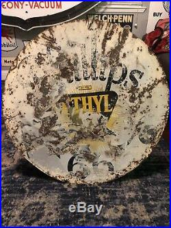Original Phillips 66 Porcelain Double Sided Sign 30 Curb Sign, Has Paint On It