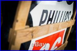 Original Phillips 66 Porcelain Gas Oil Sign- NOS in Original Crate