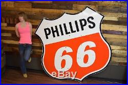 Original Phillips 66 Porcelain Sign 2 sided 6' Gas Oil Advertising Will SHIP WOW