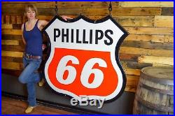 Original Phillips 66 Porcelain Sign 2 sided MINTY 1969 with frame Gas Oil Advert
