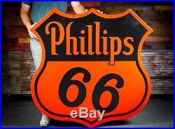 Original Phillips 66 Porcelain Sign 48 Clean