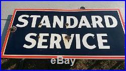 Original Porcelain 1930's Standard Service Advertising Sign Gas Oil