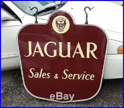 Original Porcelain 1950's Jaguar Dealership Sales & Service Auto Gas Oil Sign
