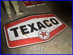 Original Porcelain 1960's Texaco Gasoline Double Sided Advertising Sign Gas Oil