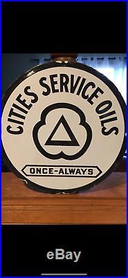 Original Porcelain Cities Service Oil Pump Plate Gas and Oil