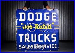 Original Porcelain Dodge Tucks Dealership Gas Oil Sign