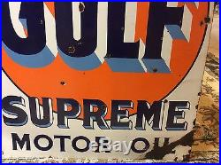 Original Porcelain Gulf Supreme Motor Oil Tombstone Sign Double Sided