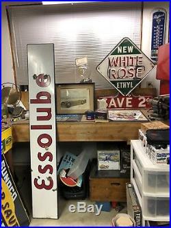 Original Porcelain Imperial ESSO Dealer Sign Gas Oil Vintage Gas Garage Pump 72
