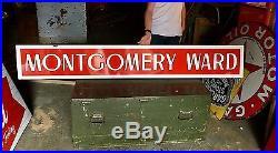 Original Porcelain Montgomery Ward Stores Advertising Strip Sign Gas Oil Nice