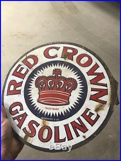 Original Porcelain Sign Red Crown Gas Oil Sign USA NOT A REPOP