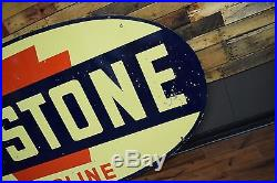 Original RARE Keystone Gasoline 2 sided Porcelain Sign 8ft Beautiful Gas Station