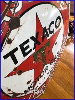 Original Rare 1920s Porcelain Texaco Filling Station 42 Inch Advertising Sign