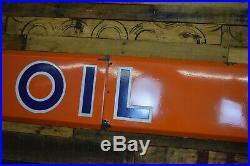 Original Rare 1950s Porcelain Union 76 Oil Advertising Sign Gas Lube HUGE Strip