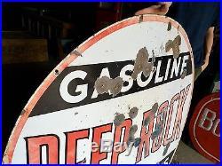 Original Rare Porcelain 48 in. Deep Rock Gasoline Advertising Sign Gas Oil