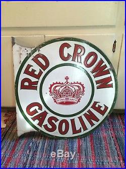Original Red Crown Gasoline Porcelain Flange Sign