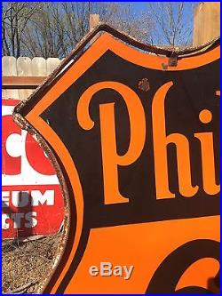 Original Ring Double Sided 48 Phillips 66 Oil Gas Porcelain Sign
