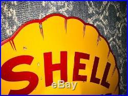 Original Shell Gasoline Clam Porcelain Motor Oil Gas Station Sign