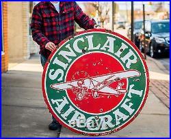 Original Sinclair Aircraft 48 Porcelain GAS OIL Sign WOW! NO RESERVE