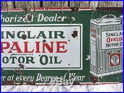 Original Sinclair Opaline Motor Oil Can Single-sided Porcelain Sign
