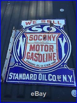 Original Socony Flange Sign Porcelain