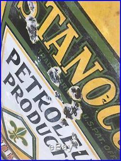 Original Stancola Standard Oil DSP Porcelain Motor Sign Petroleum Station 30