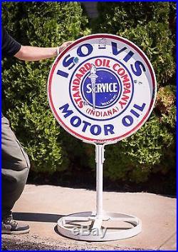 Original Standard Oil Iso Vis Motor Oil Gasoline Porcelain LOLLIPOP Sign