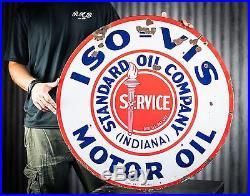Original Standard Oil Iso Vis Motor Oil Gasoline Porcelain Sign- NO RESERVE