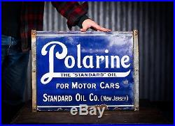 Original Standard Oil Polarine Gasoline Porcelain Sign- NO RESERVE