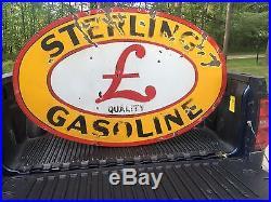 Original Sterling Gasoline Porcelain Double Sided Gas Station Oil Sign