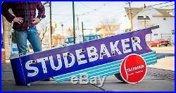 Original Studebaker Porcelain Neon Dealership Gas Oil Sign -WOW NOS! WILL SHIP
