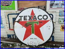 Original TEXACO Double Sided Porcelain Gas Oil Sign Gasoline station Dealer