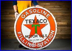 Original TEXACO FILLING STATION Porcelain Gas Oil Sign