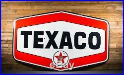 Original TEXACO Motor Oil Filling Station Porcelain Sign 8ft will ship