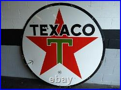 Original Texaco 6ft Porcelain Sign Dated 1962 Very Nice Condition