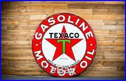 Original Texaco Gas Oil Porcelain Sign