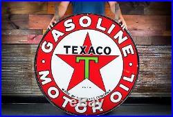 Original Texaco Gasoline Porcelain Sign 42 WOW