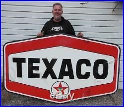 Original Texaco Oil Gas Service Station Porcelain Dealer Advertising Sign