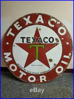 Original Texaco motor Oil Porcelain sign lot 21